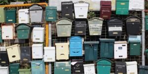 Eine Foto mit Unmengen von unterschiedlichen und alten Briefkästen an einem Zaun - Thema: Kontakt